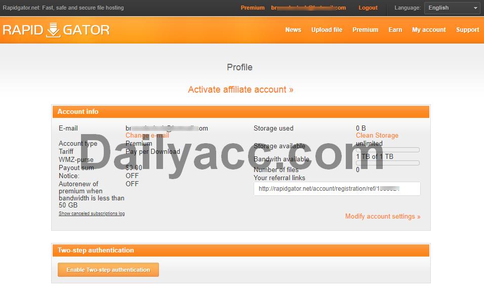 Free Rapidgator.net Premium Account 21 October 2018 No Survay