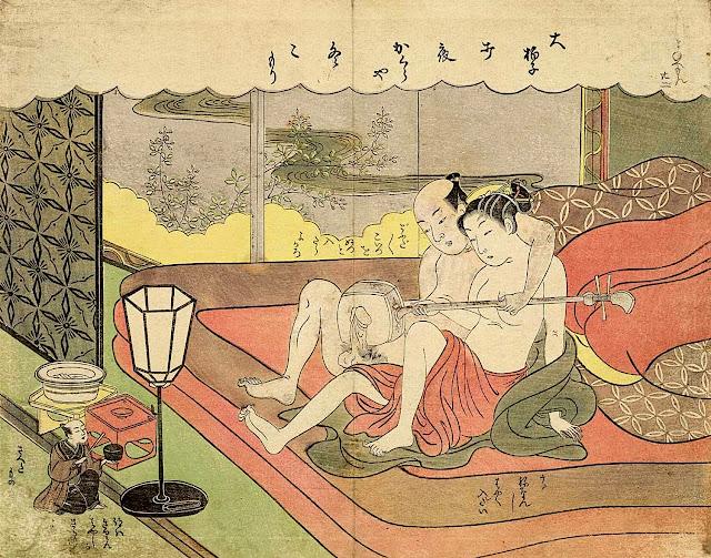 Suzuki Harunobu: Il nano Mane'emon e la coppia di suonatori