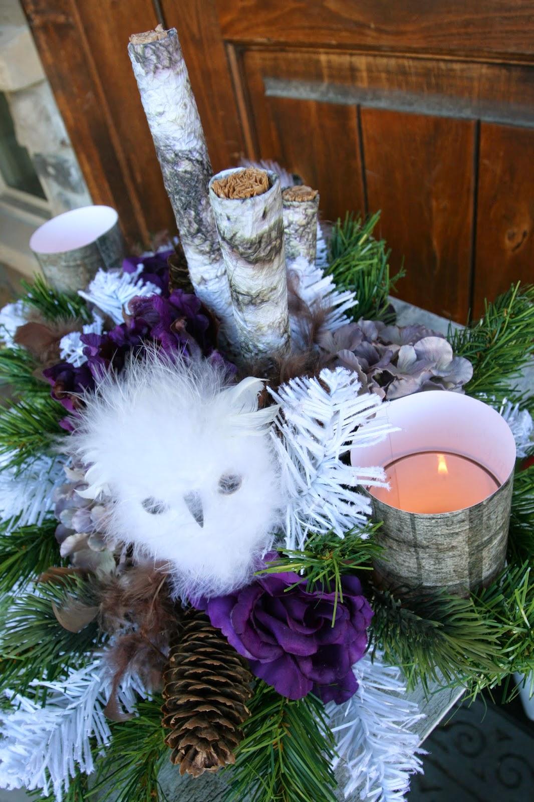 Rustic Purple Owl Christmas Decor