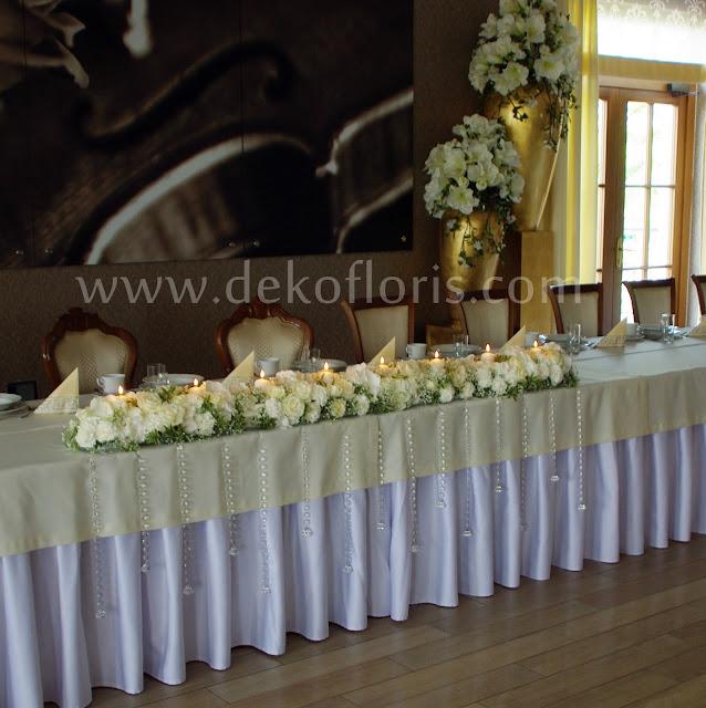 dekoracja wesele białe kwiaty Komorno - stół główny