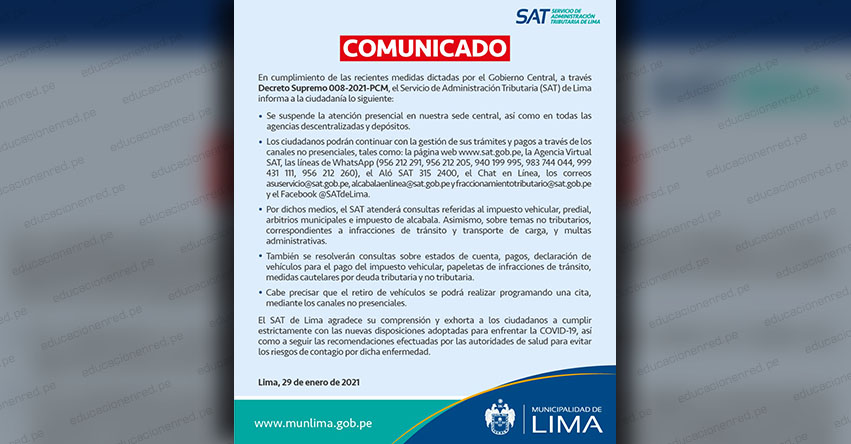 SAT Lima suspende atención presencial y atenderá por canales virtuales durante la cuarentena