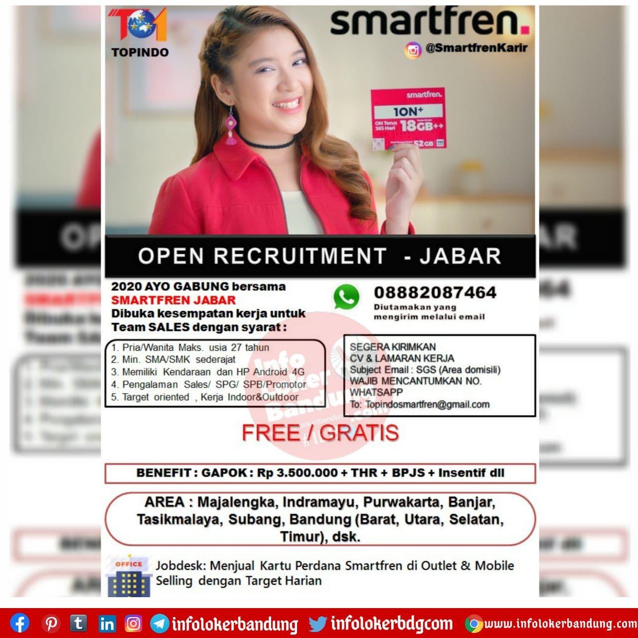 Lowongan Kerja Smartfren ( Topindo ) Bandung November 2020