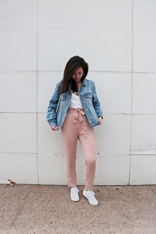 Spring Outfit, Denim Jacket, Pink Pants, White Sneakers