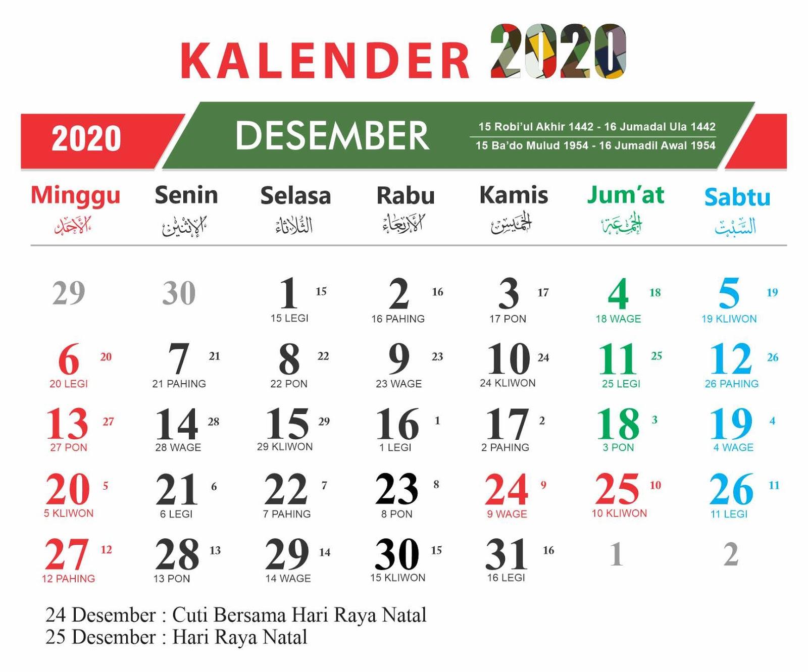 √ Kalender 2020 12Bulan + Hari Libur Nasional + Cuti ...