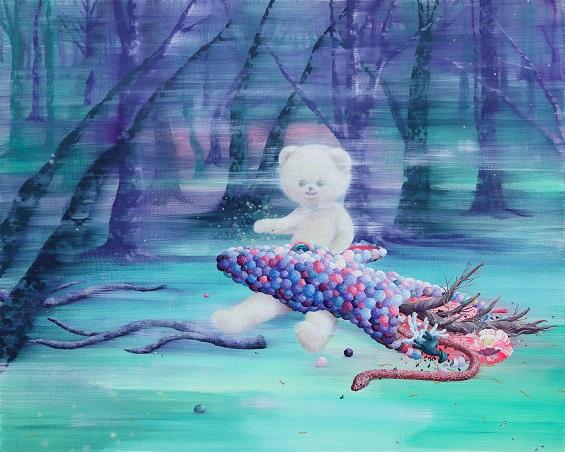 "by Eguchi Ayane, ""Fog"", 2017, oil on canvas | imagenes surrealismo pop japones, obras de arte, pinturas, cool art pictures"