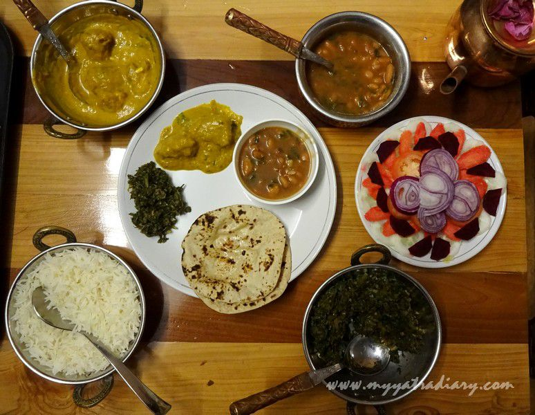 Flavorful dinner at The Himalayan Bungalow Boutique homestay Almora