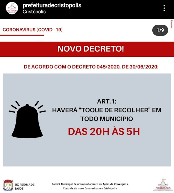 Prefeitura de Cristópolis decide fechar comércio novamente após confirmar novos casos de covid-19