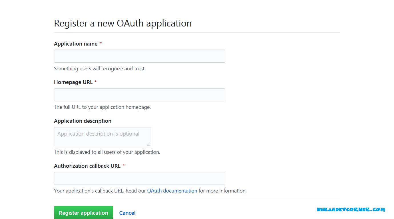 register new app github