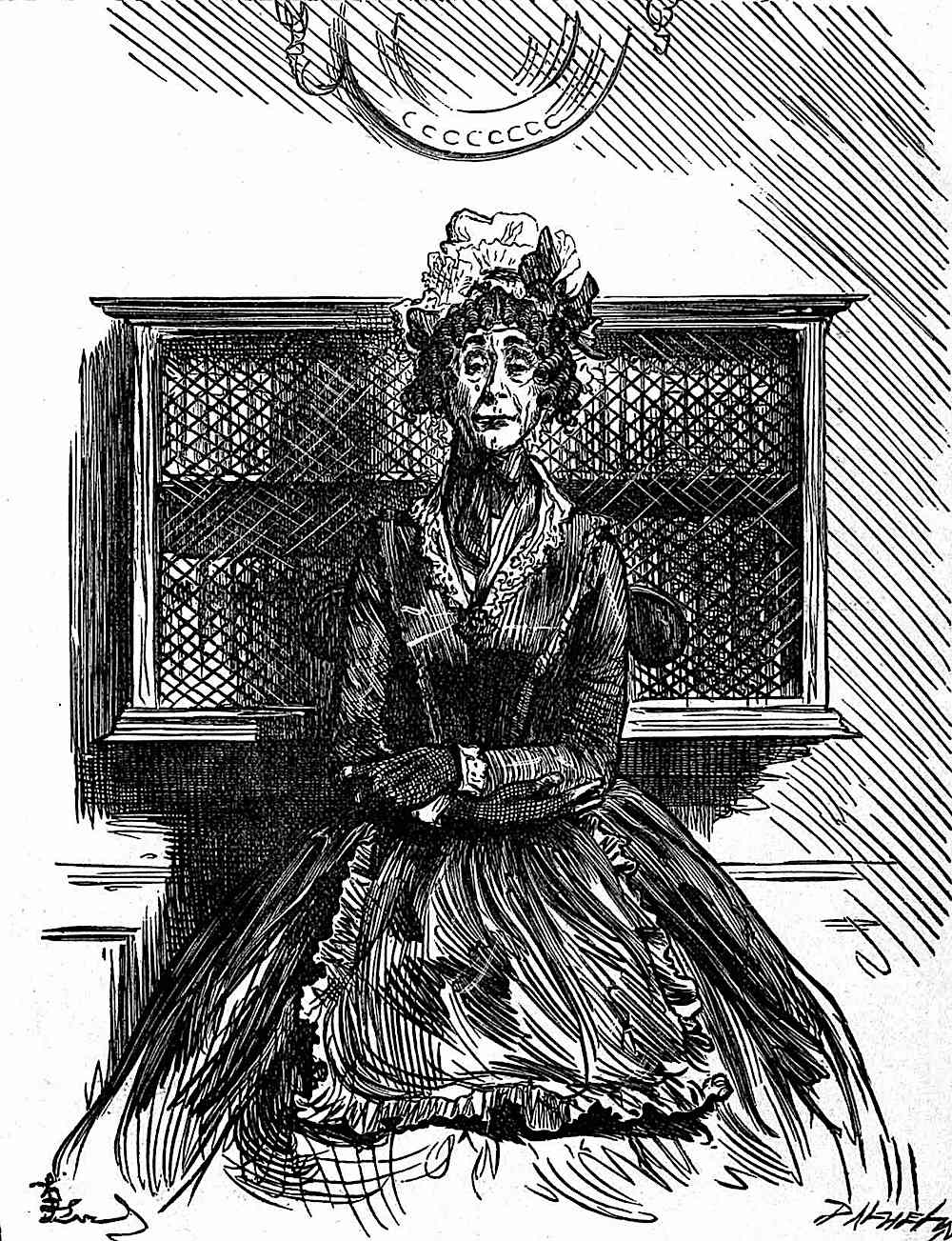 a Fred Barnard illustration of a senior woman seated