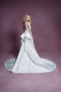 Marchesa Strapless Satin Fit and Flare Bridal Dress Detachable Train front design