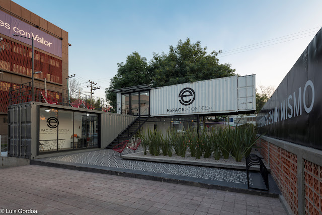 2 Story L-Shaped Shipping Container Office Building, Mexico 1