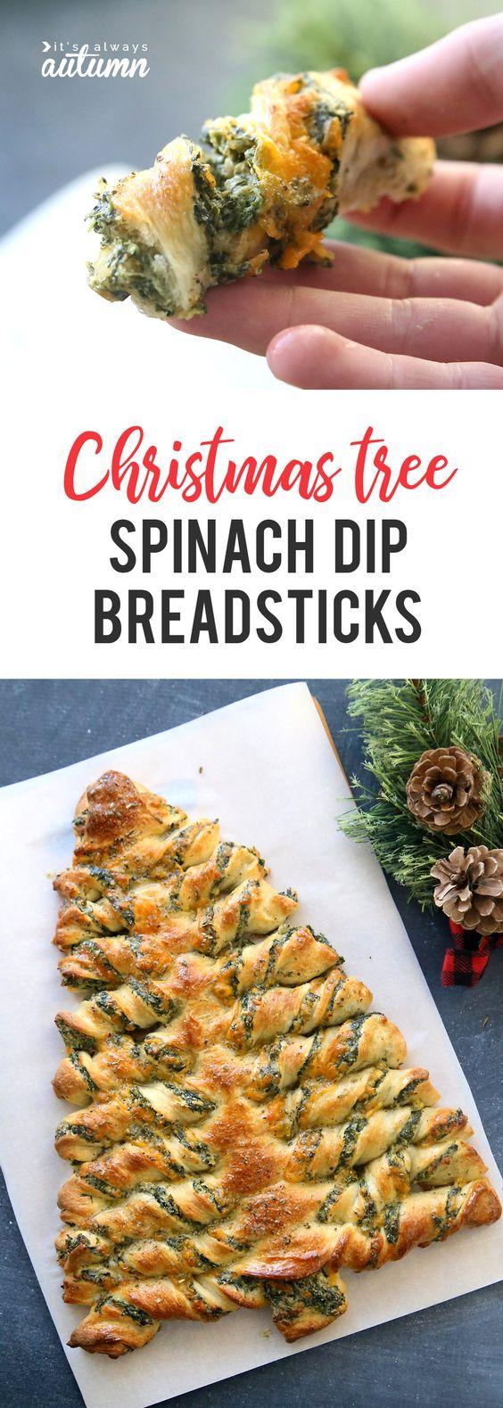 CHRISTMAS TREE SPINACH DIP BREADSTICKS
