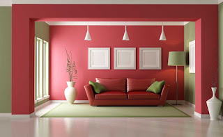 House interior with colored wall
