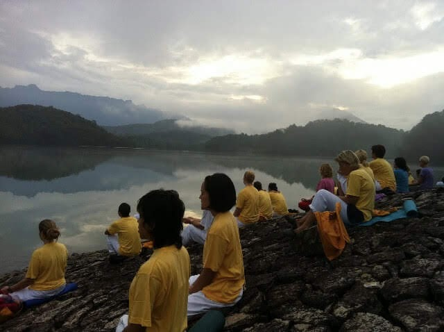 Meditation by the lake near the ashram