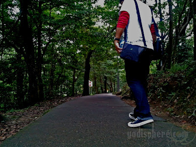 Traveller on sneakers walking on trail