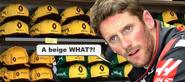 "Romain Grosjean in a Renault gift shop saying ""A beige WHAT?!"""