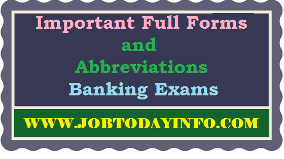 Important Full Forms and Abbreviations For Banking Exams PDF Free Download