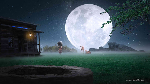 Nature Background Night Effect With Moon Full HD Background
