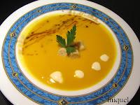 Crema de zanahoria al curri y reducción de soja y miel