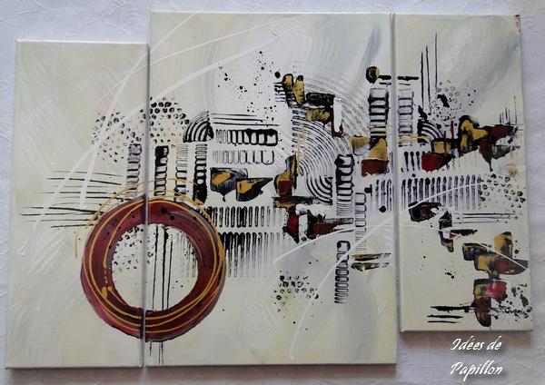 Tableau triptyque, contemporain, design, peint à la main et au couteau