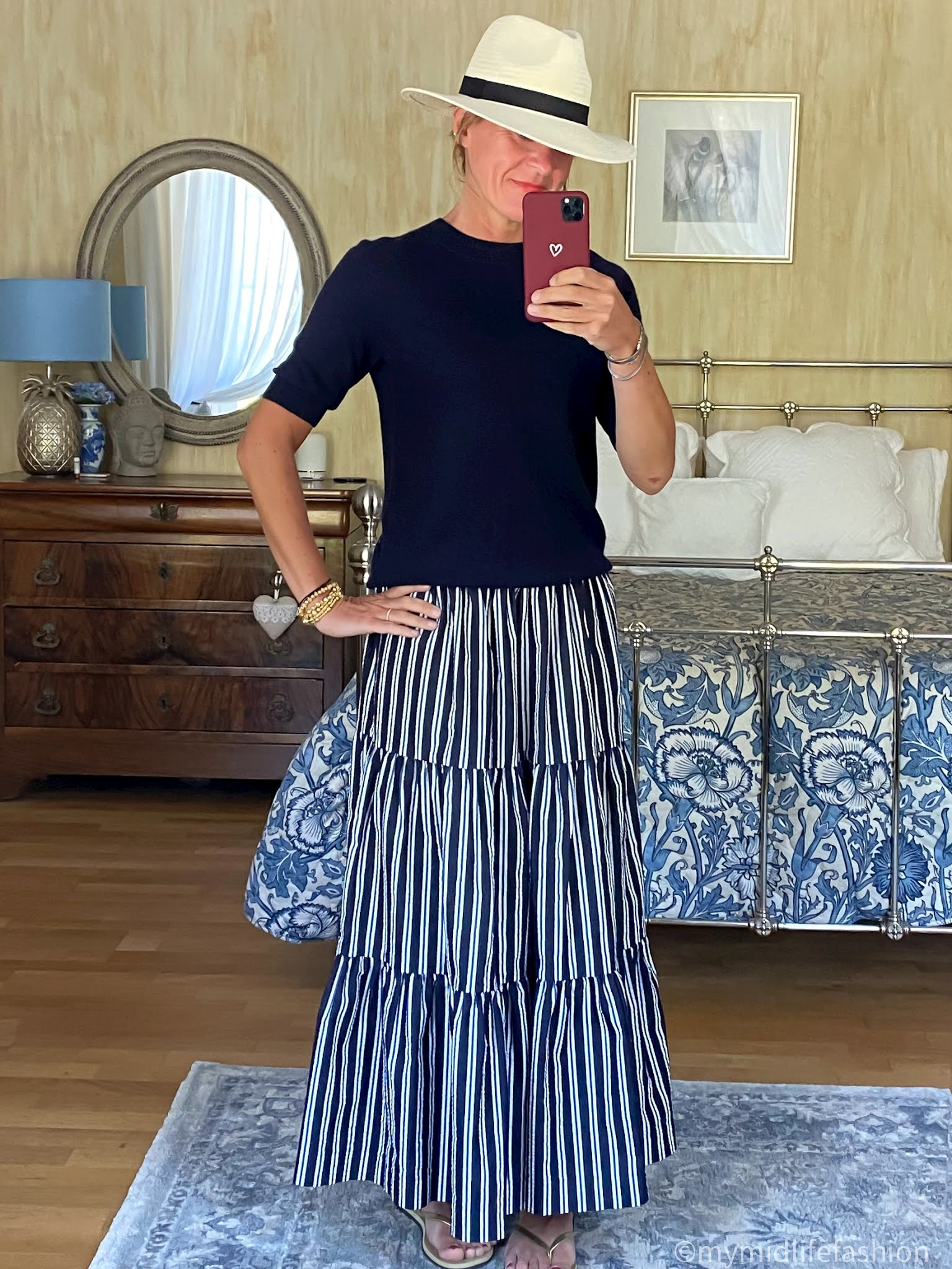 my midlife fashion, Zara Panama hat, h and m short sleeve crew neck jumper, parosh stripe tiered maxi skirt, havaianas slim fit gold flip flops