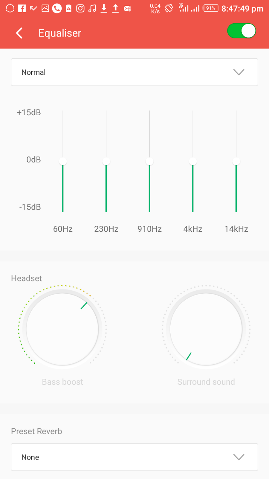 Native android equalizer