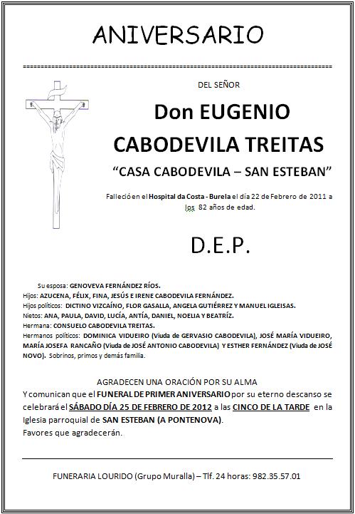 Lourido Esquela Aniversario Eugenio Cabodevila Treitas Casa