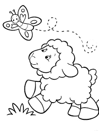 Printable Cute Sheep And Butterfly At Farm Coloring Sheet Images