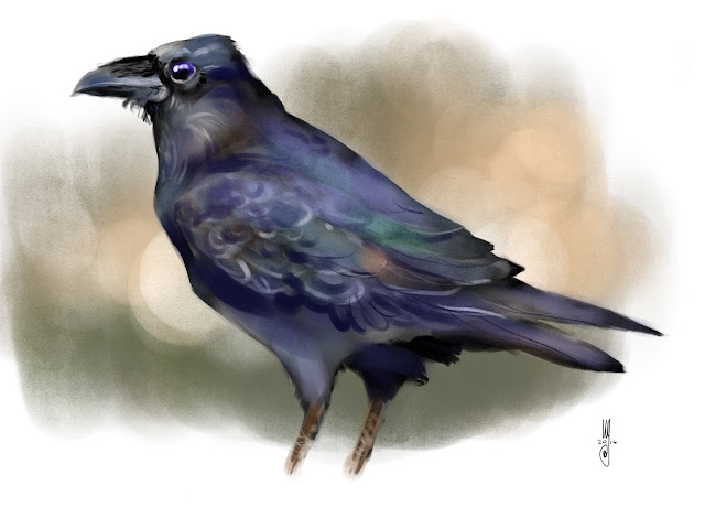 Raven bird painting by Artmagenta