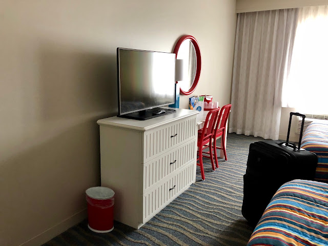 A hotel room with TV and beds at Hotel Breakers in Cedar Point, Sandusky, Ohio