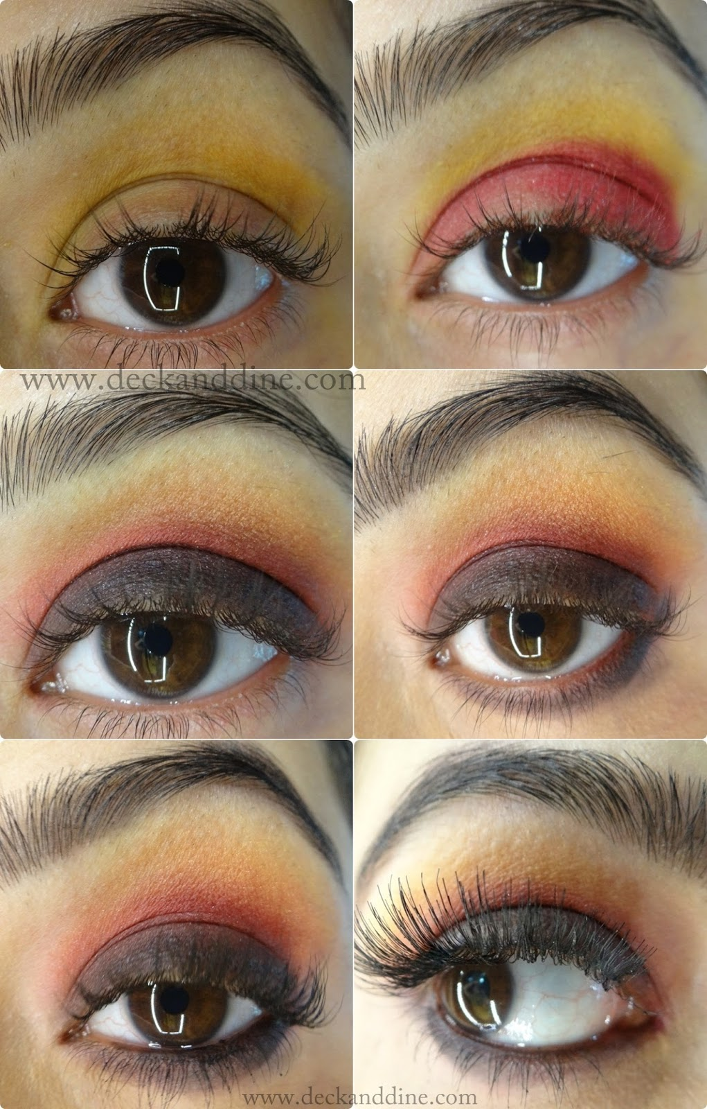 Step By Step Tutorial Autumn Burnt Red Yellow Black Eye Makeup