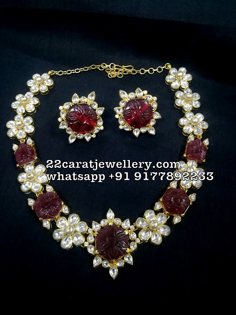 Polki Curved Ruby Silver Metal Necklace