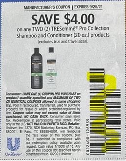 """$4.00/2 Tresemme Shampoo And Conditioner Coupon from """"SAVE"""" insert week of 9/12/21."""