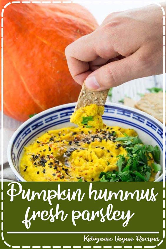 This pumpkin hummus with fresh parsley and sesame seeds is the perfect snack or appetizer  Pumpkin hummus with fresh parsley