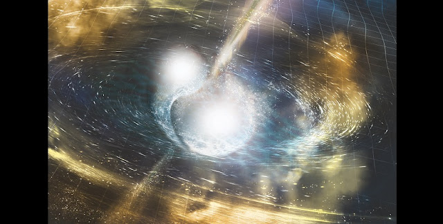 Artist's concept of two neutron stars colliding. Credit: NSF/LIGO/Sonoma State University/A. Simonnet