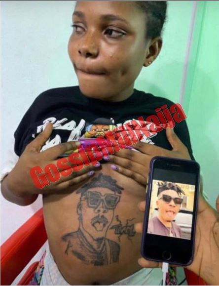 Pregnant Lady Tattoos Singer Mayorkun on her Stomach (Pictures)