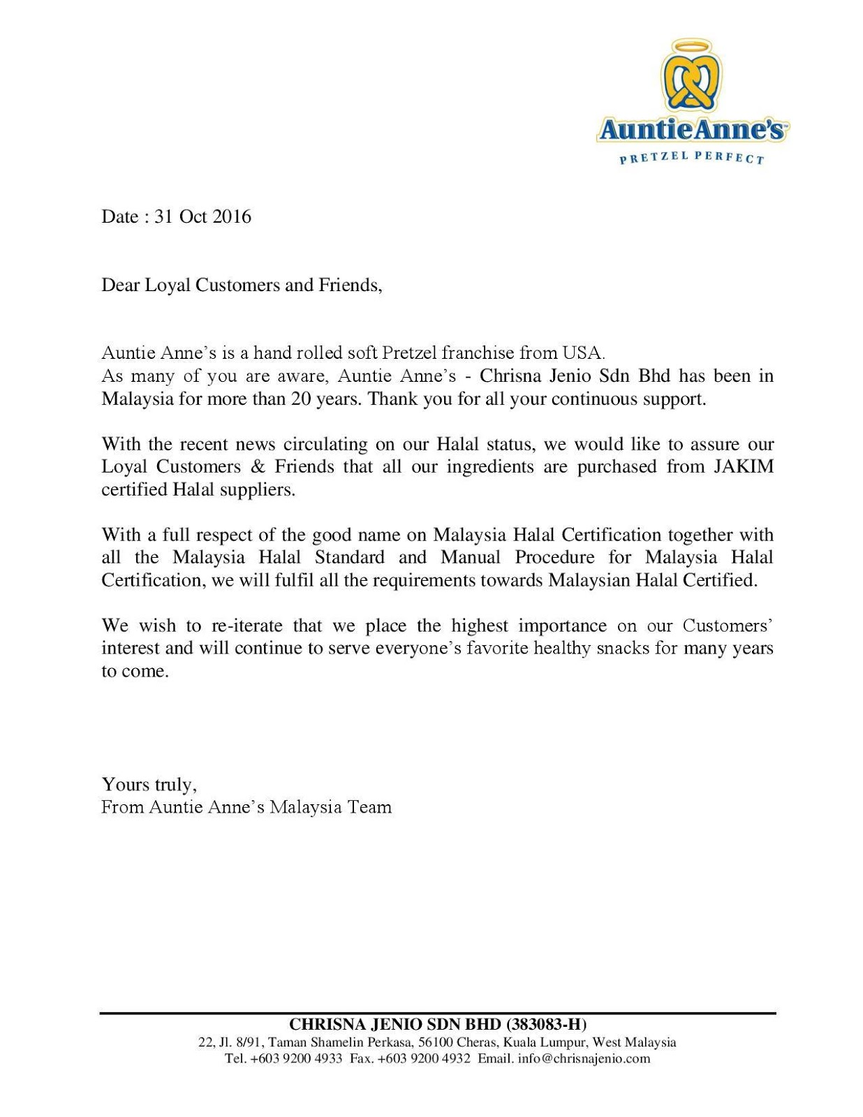 Suroor asia muslims in malaysia want halal certified eateries source auntie annes malaysia facebook page letter assuring customers that it uses halal xflitez Images