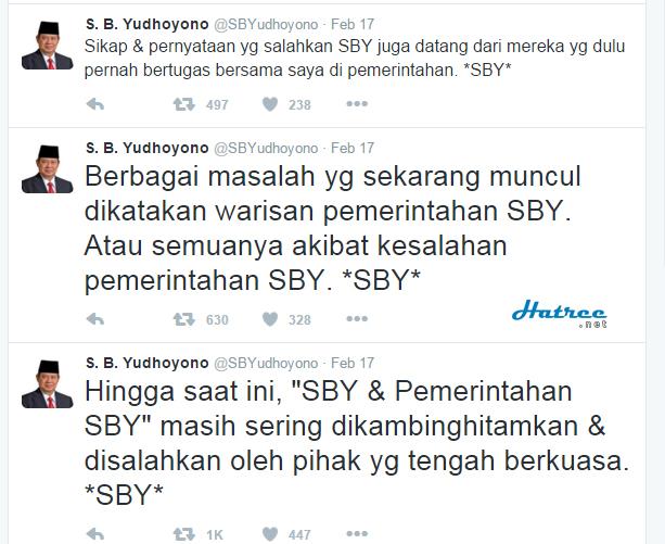 Screenshot Twitter SBY yang menyatakan bahwa Pemerintah sering mengkambinghitamkan SBY dan pemerintahannya