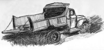 abandoned chevy dump truck vintage charcoal sketch