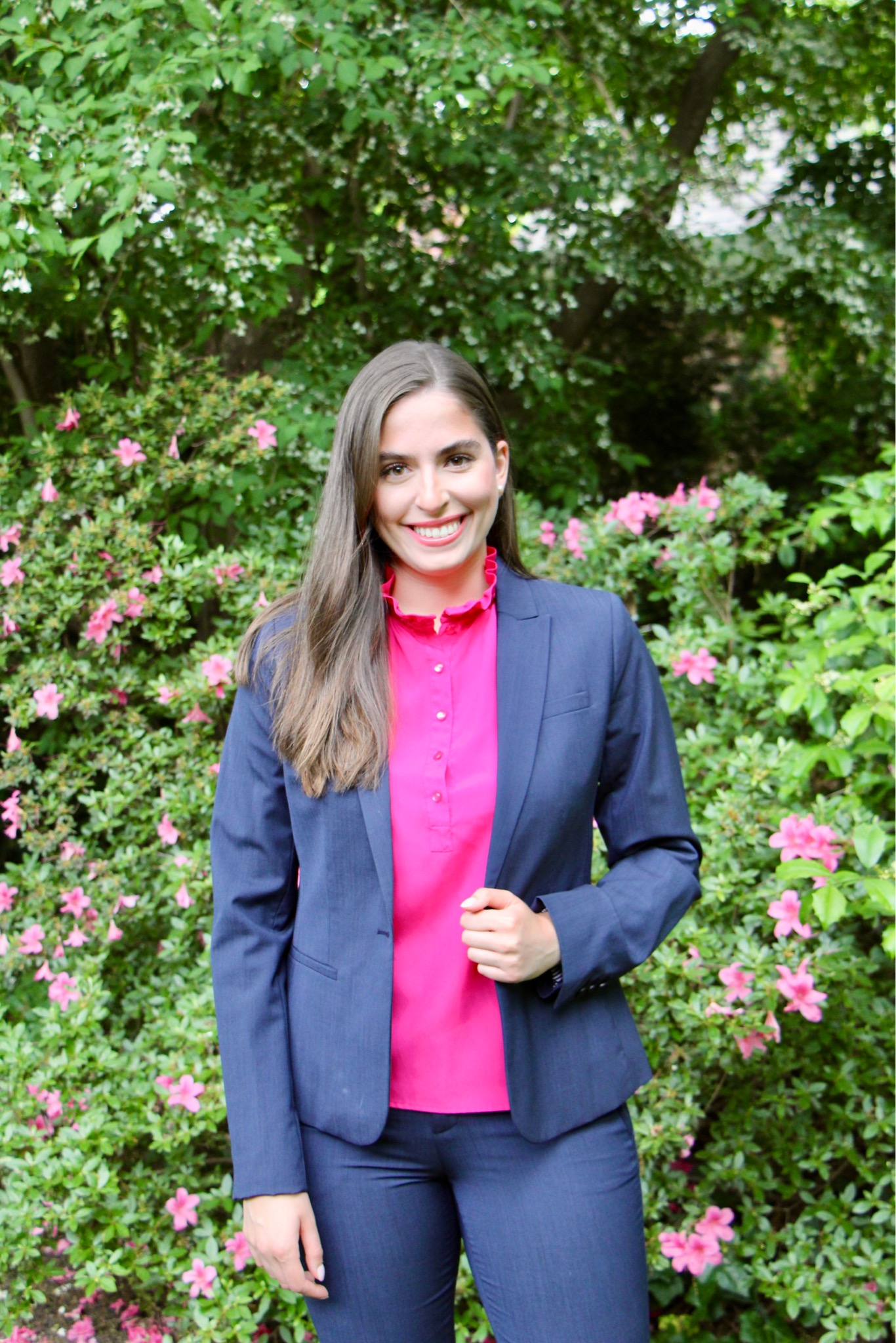attorney, lawyer, office outfit, workwear, suit, suit jacket, blazer, navy suit, pink top, business professional, business casual