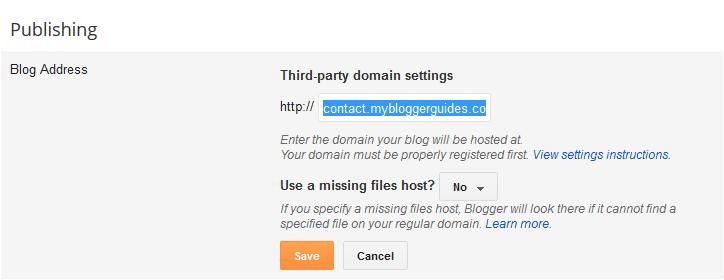 blogger subdomain setting