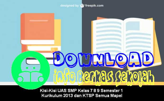 Kisi-Kisi UAS SMP Kelas 7 8 9 Semester 1 Kurikulum 2013 dan KTSP Semua Mapel