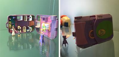 Miniatura de Câmera Fotográfica roxa que se transforma em casinha estilo Polly Pocket