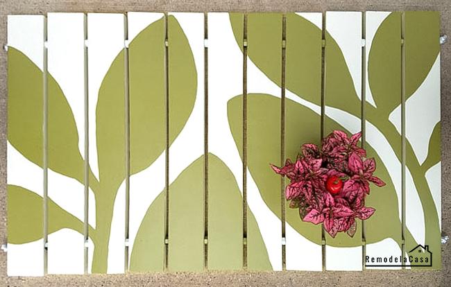 leaves design on wooden door mat