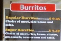 Burrito Menu with different fonts and colors