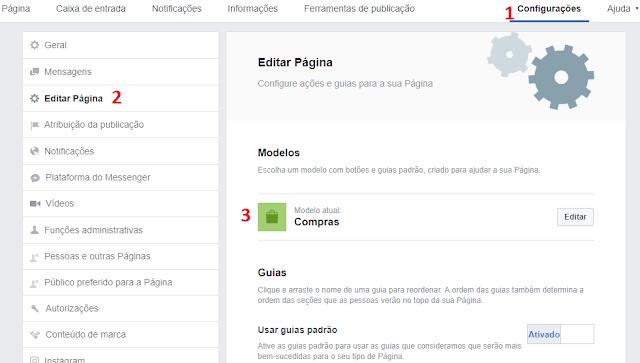 configurar página modelo de compra no Facebook
