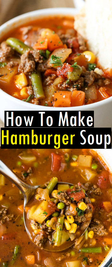 The Best Easy Hamburger Soup Recipe is a quick and easy meal loaded with vegetables, lean beef, diced tomatoes and potatoes. It's great made ahead of time, budget friendly, reheats well and freezes perfectly. #easysouprecipe #souprecipe #hamburgersoup #hamburger #dish #maindish #dinner #easydinnerrecipe