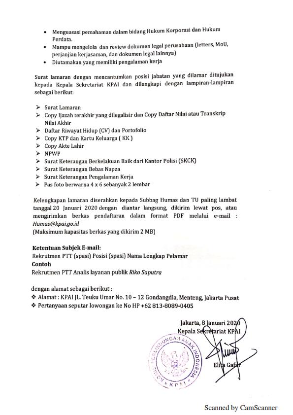 Lowongan Kerja Lowongan Kerja Komisi Perlindungan Anak Indonesia Tahun 2020