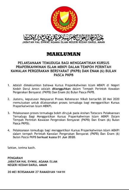 Kedah Benarkan Pernikahan Tanpa Kursus Praperkahwinan Sepanjang PKPB