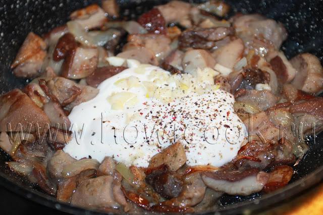 рецепт белых грибов в сметане с пошаговыми фото